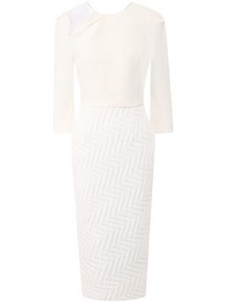 Белое шелковое платье с подкладкой с декоративной отделкой Roland Mouret