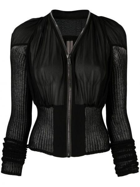 Czarna długa kurtka bawełniana z długimi rękawami Rick Owens