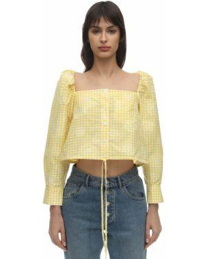 Żółty crop top z długimi rękawami bawełniany Pushbutton