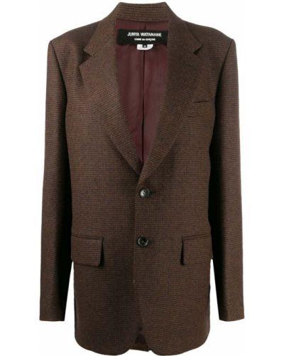 Коричневое шерстяное длинное пальто оверсайз Junya Watanabe