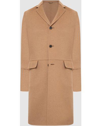 Шерстяное бежевое пальто Prada