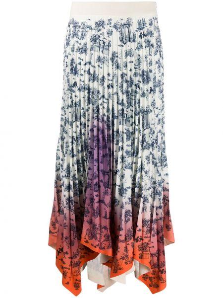 Белая асимметричная с завышенной талией плиссированная юбка на молнии Ssheena