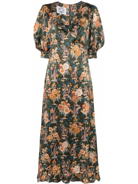 Sukienka mini krótki rękaw z jedwabiu w kwiaty Evi Grintela