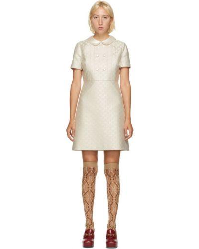 Jedwab sukienka mini z kołnierzem z mankietami bez rękawów Gucci