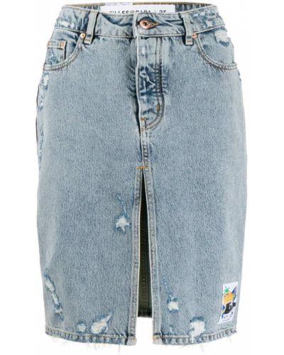 Плиссированная синяя юбка мини с поясом Filles A Papa