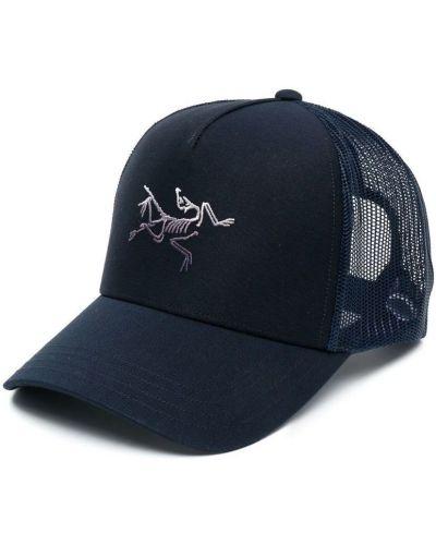 Niebieska czapka sportowa bawełniana z haftem Arcteryx