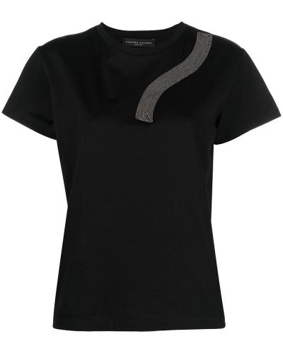 Хлопковая черная футболка с вырезом Fabiana Filippi