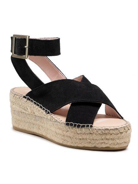 Czarne sandały zamszowe Manebi