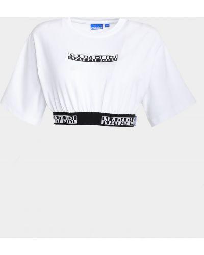 Короткая белая футболка с вырезом Napapijri