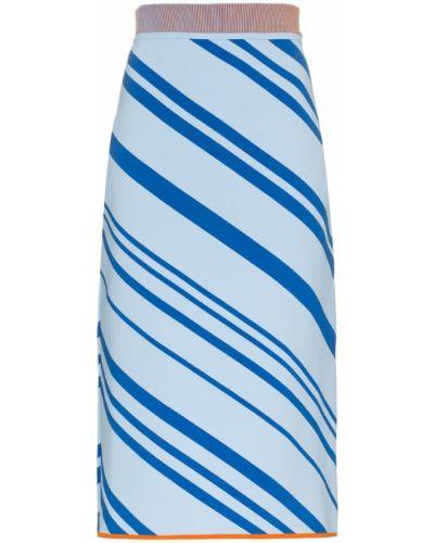 Ажурная синяя юбка карандаш с рукавом 3/4 I-am-chen