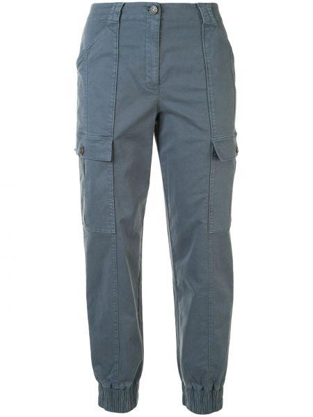 Хлопковые синие брюки узкого кроя на молнии Cinq À Sept