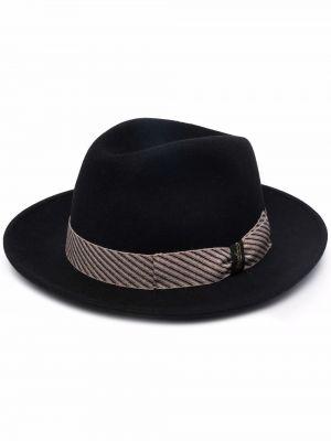 Czarny kapelusz wełniany Borsalino