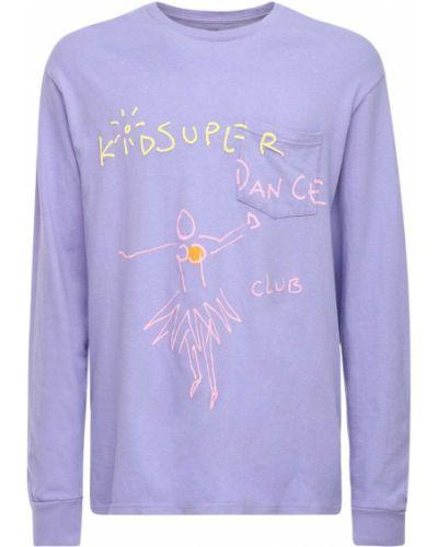 Fioletowy t-shirt z długimi rękawami bawełniany Kidsuper Studios