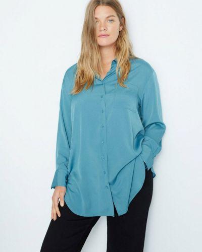 Бирюзовая с рукавами блузка Violeta By Mango