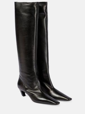 Повседневные черные сапоги на высоком каблуке до середины колена из натуральной кожи Khaite
