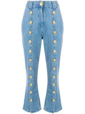 Укороченные джинсы с манжетами с карманами на пуговицах в стиле бохо Balmain