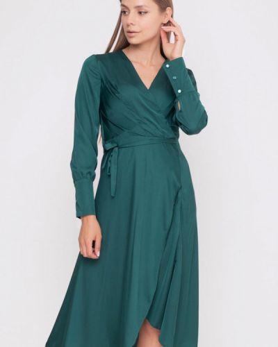 Зеленое платье с запахом Sfn