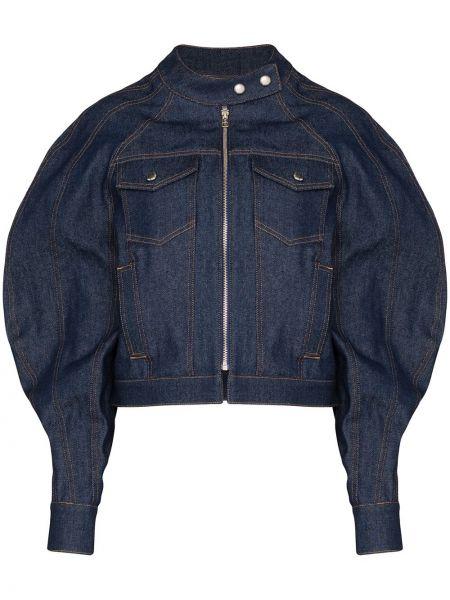 Хлопковая синяя джинсовая куртка на молнии Eckhaus Latta