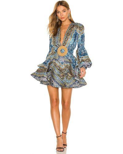 Klasyczna niebieska sukienka mini z jedwabiu Bronx And Banco