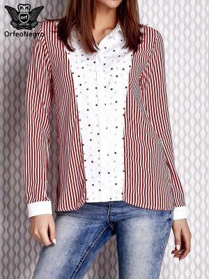 Koszula w paski z wiskozy na co dzień Fashionhunters
