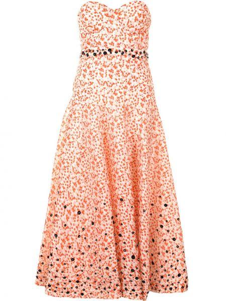 Pomarańczowa sukienka z jedwabiu w kwiaty Delpozo