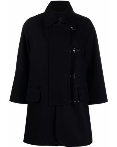 Синее шерстяное длинное пальто оверсайз с воротником Fay