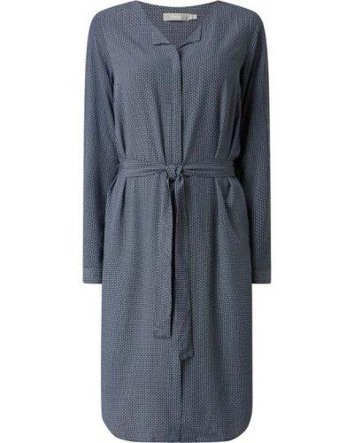 Niebieska sukienka z długimi rękawami z wiskozy Fransa