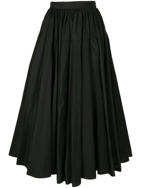 Расклешенная черная плиссированная юбка с карманами Delpozo