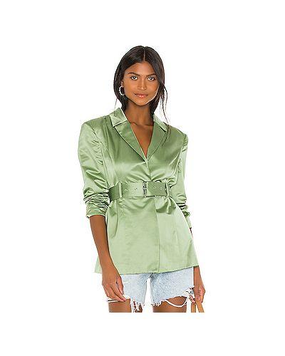 Сатиновый зеленый пиджак с карманами с запахом Grlfrnd