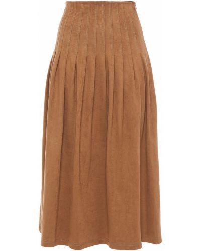 Замшевая юбка миди - коричневая Vilshenko