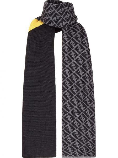 Черный шерстяной вязаный шарф Fendi