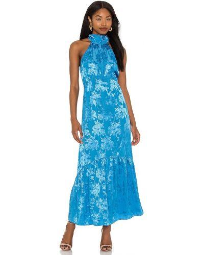 Восточное синее платье макси жаккардовое Saylor