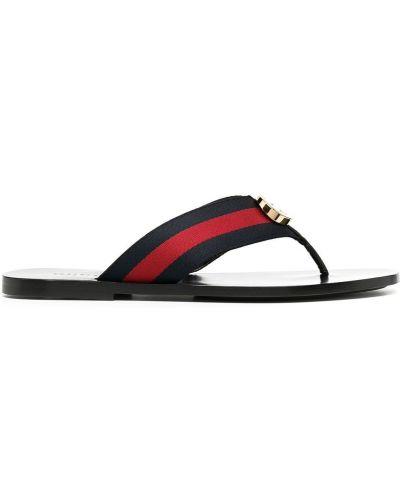 Skórzany czarny sandały płaska podeszwa Gucci