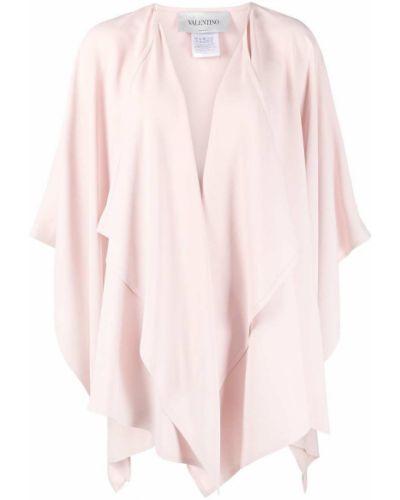 Różowy jedwab z rękawami peleryna z draperią Valentino