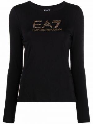 Черная футболка с длинными рукавами Ea7 Emporio Armani