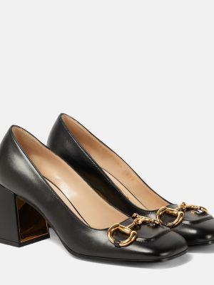 Брендовые черные кожаные туфли-лодочки Gucci