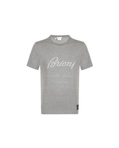 Хлопковая серая футболка Brioni