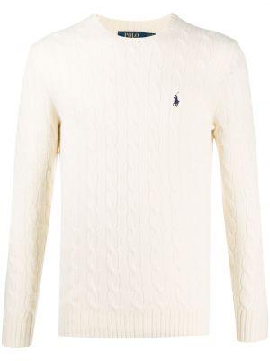 Wełniany biały koszulka polo z haftem z długimi rękawami Polo Ralph Lauren