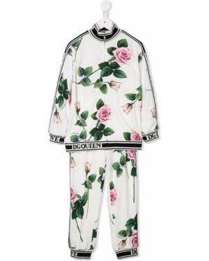 Prążkowany różowy dres bawełniany Dolce & Gabbana Kids