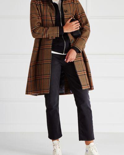 Кожаное пальто шерстяное с рукавом реглан Golden Goose Deluxe Brand