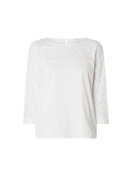 Bawełna biały bluzka z haftem z dekoltem Esprit