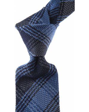 Niebieski krawat z jedwabiu w kratę Belvest