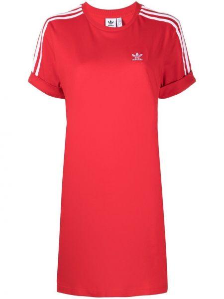 Красное платье мини в полоску с вырезом Adidas