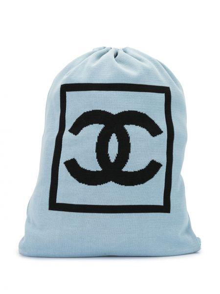 Хлопковая синяя спортивная сумка с низкой посадкой с подкладкой Chanel Pre-owned