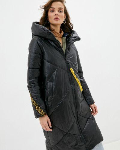 Теплая черная утепленная куртка Liana