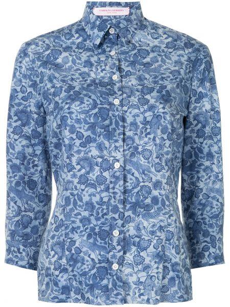 Хлопковая синяя рубашка с воротником Carolina Herrera