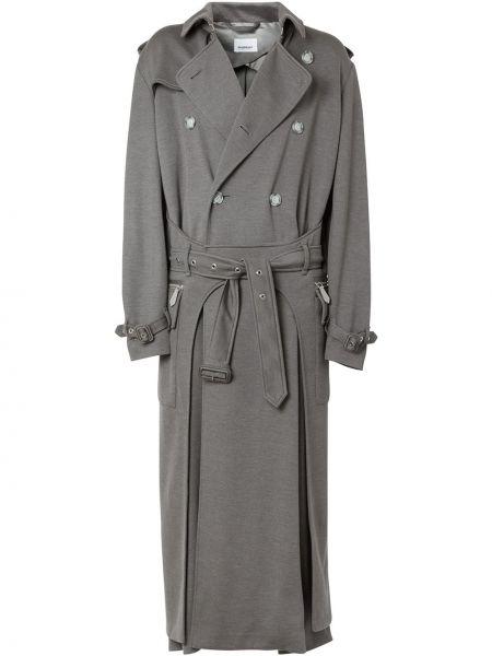 Серое классическое длинное пальто с воротником двубортное Burberry
