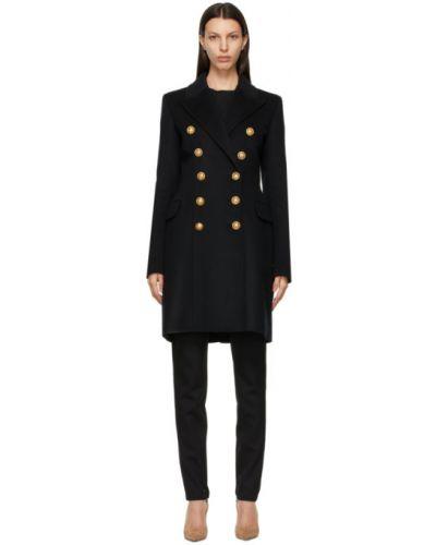 Шерстяное черное длинное пальто двубортное Balmain