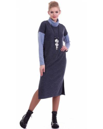 Прямое с рукавами трикотажное платье-свитер Lautus