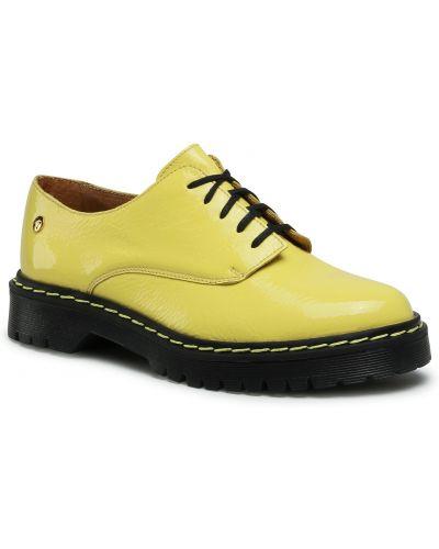 Półbuty skórzane casual - żółte Maciejka